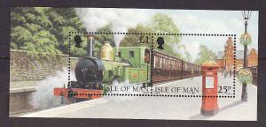 Isle of Man-Sc#785-unused NH sheet-Trains-Locomotives-1998-