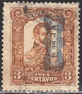 MEXICO 519Var, 3c CORBATA REVOLUTIONARY OVPT INV (READING DOWN). USED F (783)