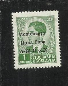 MONTENEGRO 1941 SOPRASTAMPATO DI JUGOSLAVIA 1 D 1D MNH