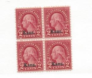 United States, 660, Washington Kansas Ovpt. Block(4), MNH