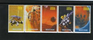 Naxcivan Republic 1997 SPACE Strip (5) Perforated Mint (NH)