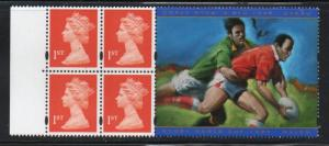 Great Britain Sc MH288c 1st Booklet pane Rugby label mint NH