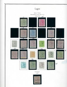 LAGOS- 22 MINT LIGHT HINGED/7 USED STAMPS-MOUNTED ON PALO ALBUM PAGES (3+COVER)