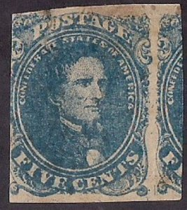 CSA #4 Mint single w lg portion of stamp at R, stains, HR flts but great price!