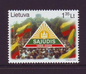 Lithuania Sc 867 2008 20th anniv Sajudis Party stamp mint NH