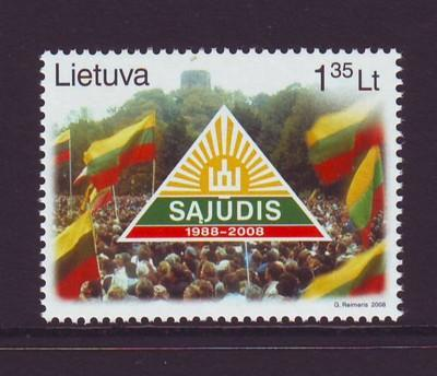 Lithuania Sc 867 2008 20th anniv Sajudis Party stamp mint NH