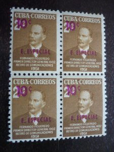Stamps- Cuba-Scott# E15 - Mint Hinged Block of 4 Stamps Overprinted & Surcharged