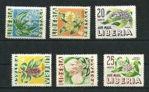 Liberia Flowers 6v Scott 350-53 C191 MNH