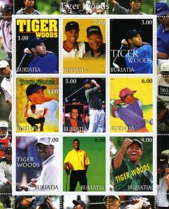 Buriatia 2001 TIGER WOODS GOLF Sheet Perforated Mint (NH)