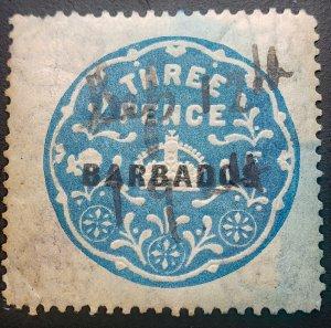 Barbados Threepence 1916-21 Revenue Manuscript Cancel