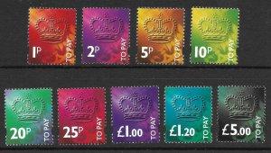 Doyle's_Stamps: Nice MNH British 1994 Postage Due Set #J104** to #J112**
