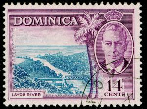 DOMINICA SG129, 14c blue & violet, FINE USED.