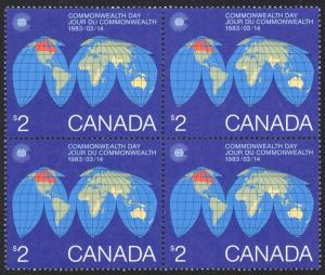Canada Sc# 977 MNH Block/4 1983 $2.00 Map of the Earth