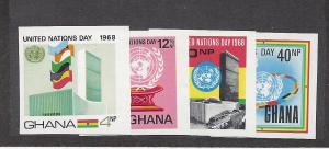 Ghana, 344-47,United Nations Day 1968 ImperfSingles,**MNH**