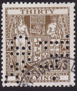 NEW ZEALAND ARMS TYPE STAMP DUTY 30/- used..................................7817