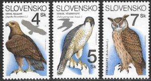 SLOVAKIA 1994 RAPTORS Birds Set Sc 184-186 MNH
