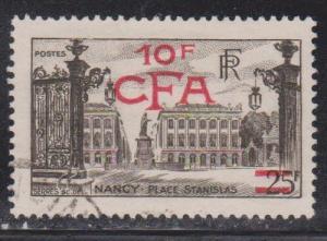 REUNION ISLAND Scott # 281 Used - CFA & New Value Overprint