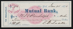 US RN-C5 1873 Mutual Bank New York Revenue Stamped Paper