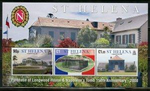 ST. HELENA  150th ANNIVERSARY OF NAPOLEON'S TOMB  SCOTT #947 S/SHEET MINT NH