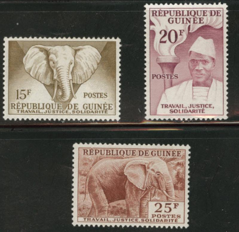 Guinea Scott 185-7 MH* 1959 key stamps