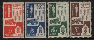 Nepal 1963 Freedom From Hunger set Sc# 159-62 NH