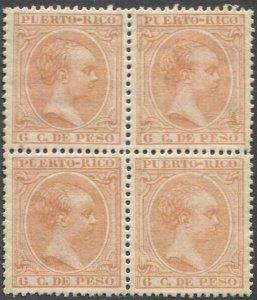 PUERTO RICO 1894 Sc 114  6c Alphonso XIII MNH Block of 4, VF