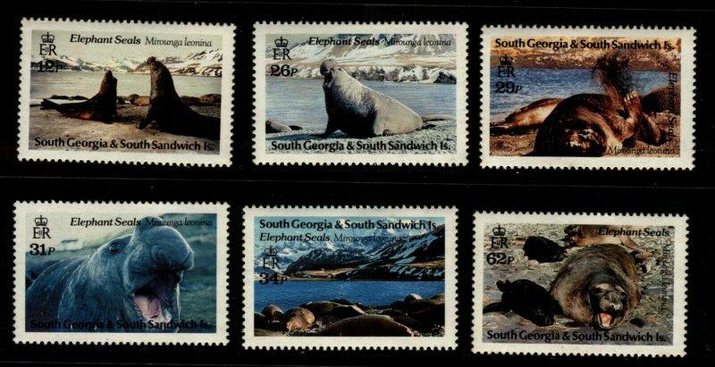 South Georgia 1991 Elephants Seals Set 6 Stamps Scott 151-6 MNH