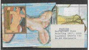 Fujeira Modigliani Painting MNH - Sourvenir Sheet - CAT VALUE $4.80