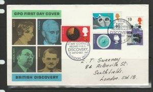GB FDC 1967 Discoveries, Illus, HMS Discovery special cancel, Neat hand addresse