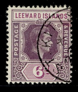 LEEWARD ISLANDS GVI SG109b, 6d purple and deep magenta, FINE USED.