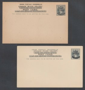 Orange Free State H&G 31-32 mint 1901 Queen Victoria surcharged Postal Cards