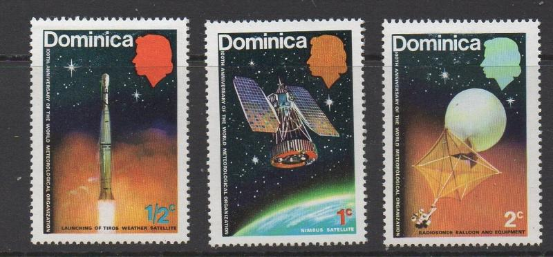 1965 Dominica Space Exploration for Weather 3v MLH Sc # 254-56