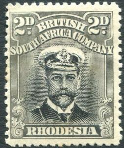 RHODESIA-1913-19 2d Black & Grey Die I Perf 14 Sg 209 AVERAGE MOUNTED MINT