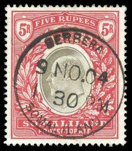 Somaliland 1904 KEVII 5r grey-black & red VFU. SG 44. Sc 39.