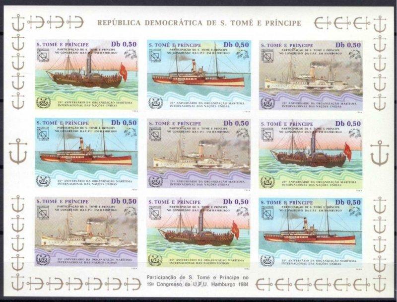 St. Thomas & Prince Islands MNH S/S Transport Ships 1984