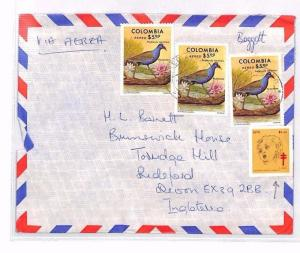 COLOMBIA Cover Commercial Air Mail CHARITY Cinderella c1979 BIRDS FLOWERS XX18