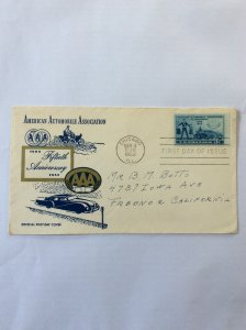 1952 American Automobile 3c First day cover. Chicago post mark to Fresno.