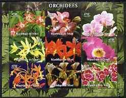 Chad 2004 ORCHIDS Sheet 9 values Perforated Mint(NH)