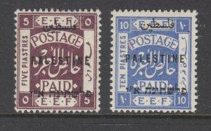 Palestine Sc 44, 46 MLH. 1921 London overprints, 2 different, F-VF