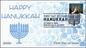 20-233, 2020, Hanukkah, First Day Cover, Pictorial Postmark, Holiday