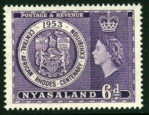 NYASALAND Queen Elizabeth II 1953 6d. Rhodes Centenary Exhibition SG 171 MINT