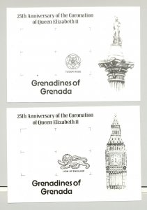 Grenada Grenadines #270-272 Queen Elizabeth 6v Imperf Proofs of M/S Background