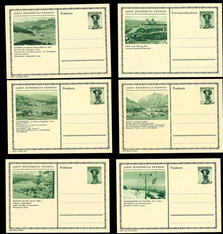 AUSTRIA (120) Scenery View Green 1 Shilling Postal Cards c1950s ALL MINT UNUSED