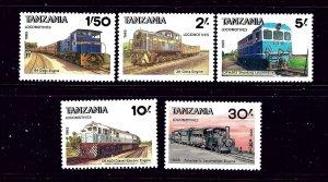 Tanzania 284-88 MNH 1985 Locomotives