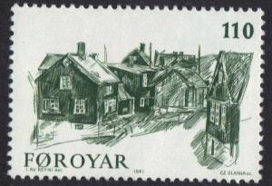 Faroe Islands 1981 MNH Old Torshavn    110 ore    #