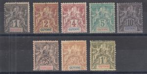 French Guiana Sc 32/49 MLH. 1892-1904 Navigation & Commerce, 8 diff,small faults