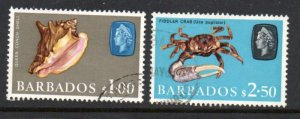 Barbados Sc 279-80 1965 $1 & $5  Marine Life stamps used