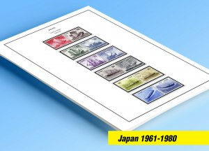 COLOR PRINTED JAPAN 1961-1980 STAMP ALBUM PAGES (82 illustrated pages)