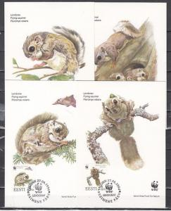 Estonia, Scott cat. 270-273. Squirrels on W.W.F. issue. 4 Maximum Cards.