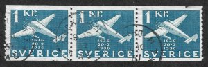 Doyle's_Stamps: XF 1936 Scott #262 Used Swedish Coil Strip of 3 1 Kroner Planes